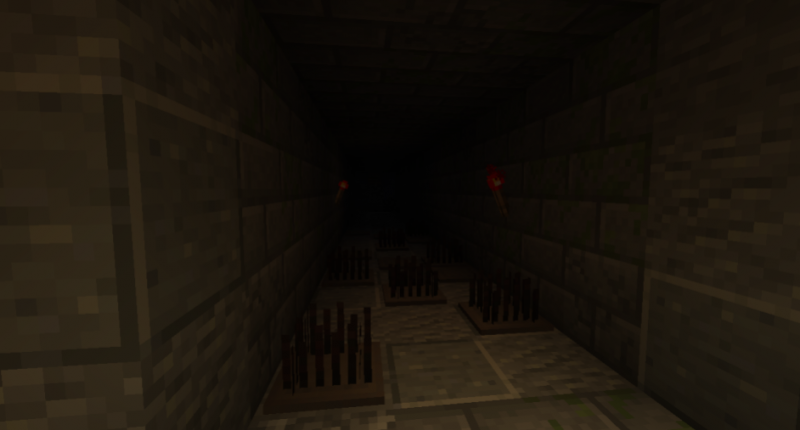 A hallway filled with traps