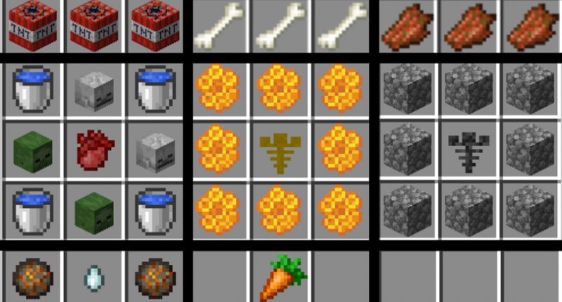 Some of the many added crafting recipes