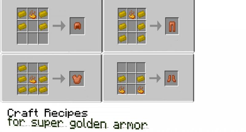 Craft recipe for super golden armor