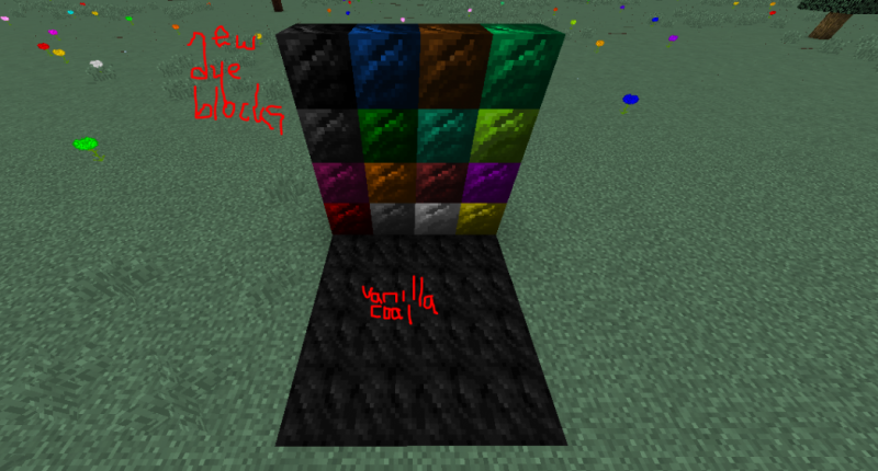 Dye blocks on top, vanilla coal blocks on bottom