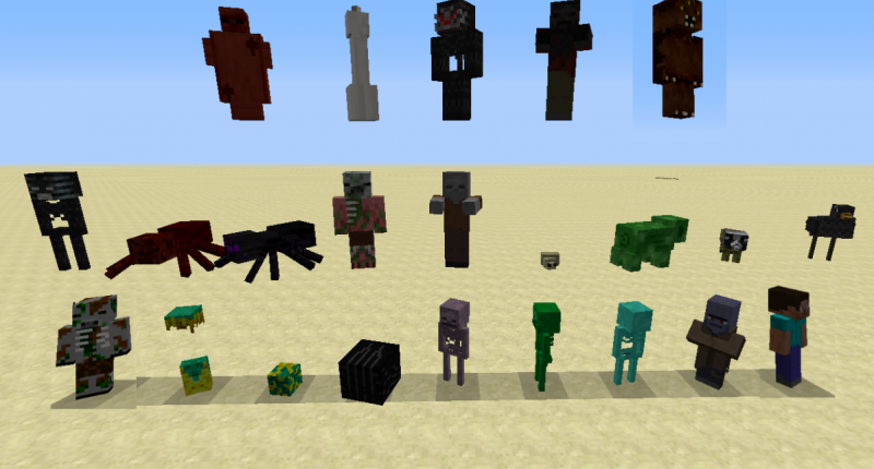 All mobs (edited slightly to make them all be facing the screen)