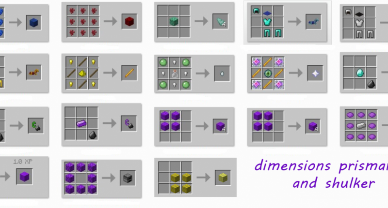 dimensions prismarine and shulker