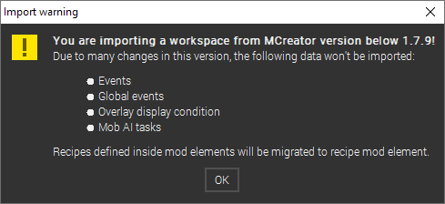 Prompt for workspaces older than 1.7.9